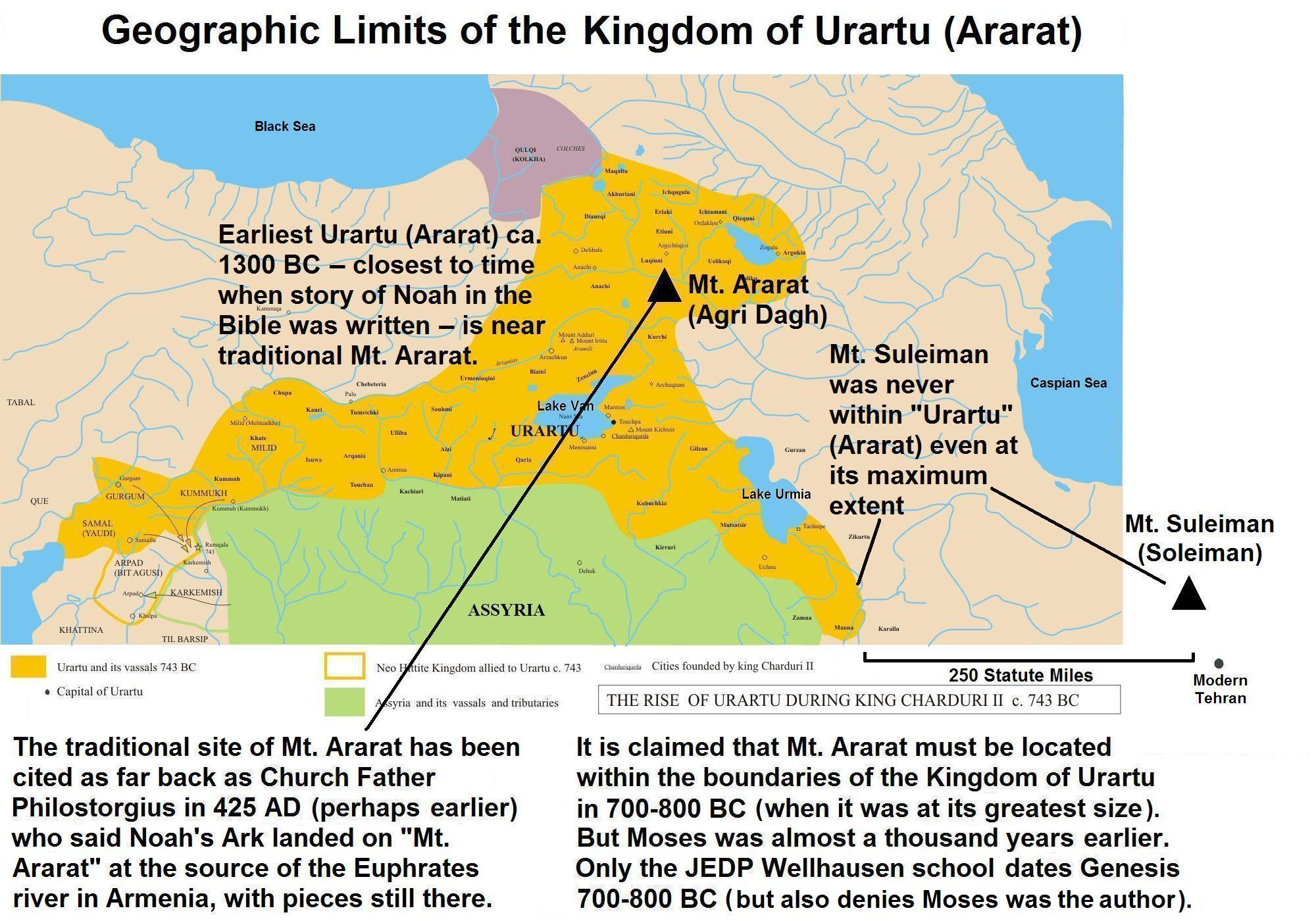 Urartu Map showing Mt. Suleiman is not in Urartu